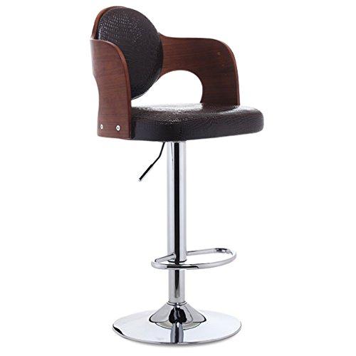 Ali@ Chaise de bar de style européen Chaise haute en bois massif Chaise haute Chaise haute à barres (Couleur : Brown)