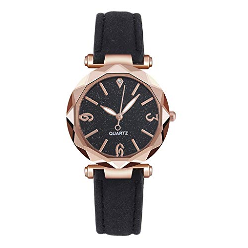KANGMOON Womens Watches Sale, Festiday Faux Crystal Student Watch Starry Sky Dial PU Leather Strap Ladies Quartz Watches Gift for Women Girls Kids Daughter Dress Up