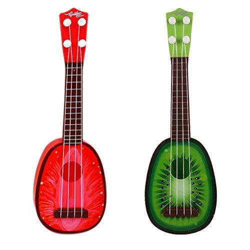 LIOOBO 2 Piezas de Mini Ukulele Instrumentos Musicales de plástico Ukelele Juguete Puede Jugar Fruta Artificial de los niños - (Fresa + Fruta Kiwi)