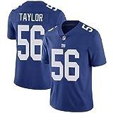 FWHACMT NFL Maillot de Rugby pour Hommes, Bleu New York Giants Players Mesh Jersey Tee T-Shirt Broderie Manches Courtes Maillots de Sport T-Shirt Sweat-Shirt à Manches,#56 Taylor,XL