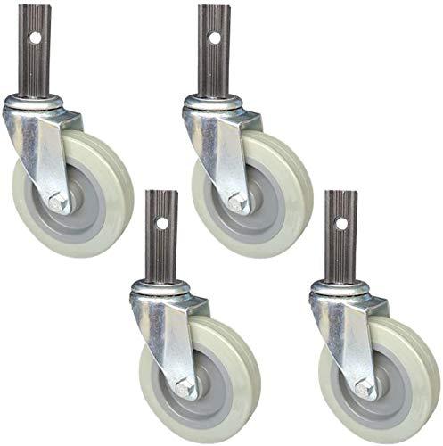 Ruedas giratorias de servicio giratorio de servicio pesado, ruedas de ruedas de PU para muebles, trolley de cocina de 4 pulgadas, lanzador giratorio, diámetro de tubo cuadrado 23 mm, capacidad de carg
