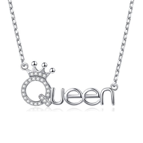 """Flyow 925 Sterling Silver White Cz Crown Queen Pendant Word Charm Necklace for Girlfriend, 18"""""""