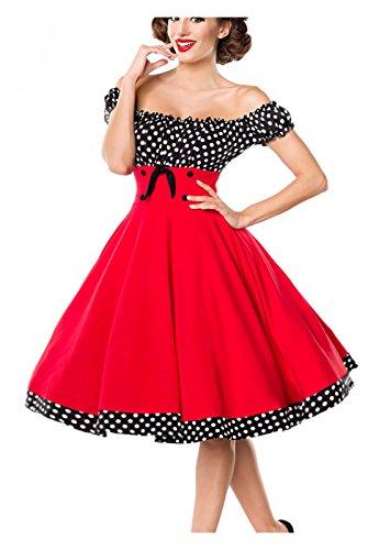 Belsira Damen schulterfreies Swing-Kleid im Retro-Style XS