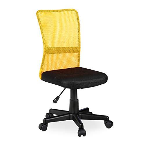 Relaxdays Silla de Oficina giratoria para niños, ergonómica, soporta hasta 90 kg, 102 x 55 x 55 cm, Color Naranja y Amarillo