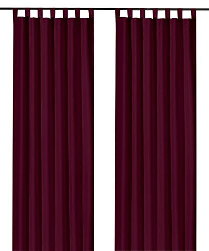 heimtexland ® Schlaufenschal Kräuselband Uni Bordeaux-Rot HxB 245x140 Blickdicht Lichtdurchlässig Vorhang ÖKOTEX Typ117