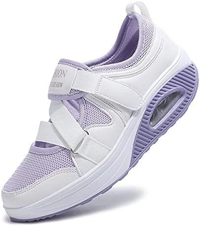 Poramea Women's Fashion Air Cushion Sole Sneakers, Mesh Walking Slip On Shoes Velcro Comfy Casual Shoes, Women's Casual Walking Sneakers Lightweight Breathable