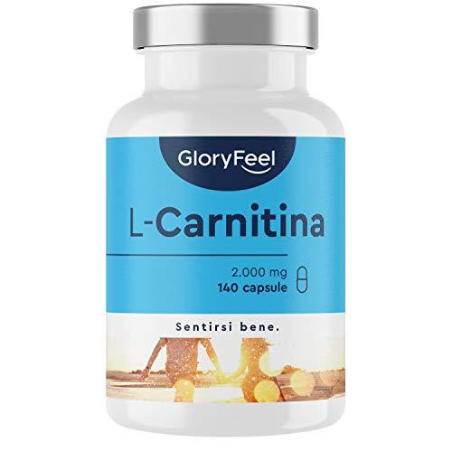 Integratore L-Carnitina, 3.000 mg di Pura Carnitina Tartrato di cui 2.000 mg di L-Carnitina, Migliora le Prestazioni Fisiche e il Recupero Muscolare, 140 Capsule Vegan