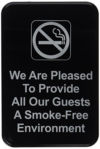 Thunder Group PLIS6901BK We are Pleased to Provide a Smoke-Free Environment Information Sign with Symbols, 6 by 9-Inch