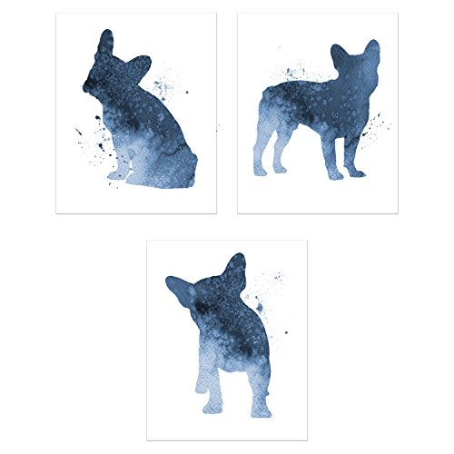 Summit Designs French Bulldog Watercolor Wall Art Decor - Set of 3 Prints (8x10) - Poster Photos - Puppy Dog