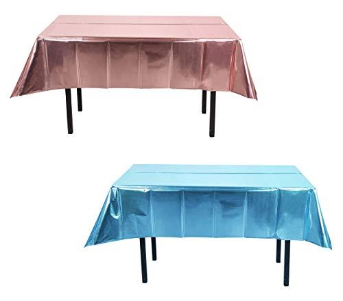 2 Mantel de Plástico,Mantel de Papel de Aluminio Opaco,El Diseño Mientras Le Brinda un Efecto de Fiesta Diferente ,Agregando El Ambiente de Fiesta (Rosa y Azul)