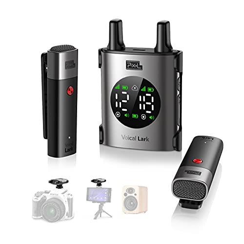 Pixel Voical Lark SE Wireless Lavalier Microphones & Systems with Dual Lavalier Mic, UHF Lav Mic Compatible with Camera & GoPro, Lapel Microphone Wireless for Interview, Vlog(Special Edition)