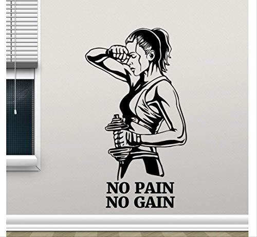 Etiqueta De La Pared Del Gimnasio No Pain No Gain Fitness Etiqueta De Vinilo Cita De Motivación Arte Decoración De La Habitación De La Pared Tren Autoadhesivo Carteles 42 * 74Cm