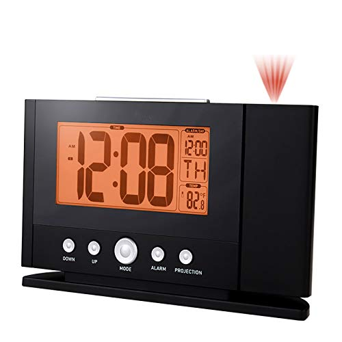 YQK Decken Clock-Projektor for Schlafzimmer, 180 Grad drehbaren Zeit Projektion Wecker, Snooze Digital Clock 12/24 H, Kalender-Funktion, Innentemperatur (F/C)