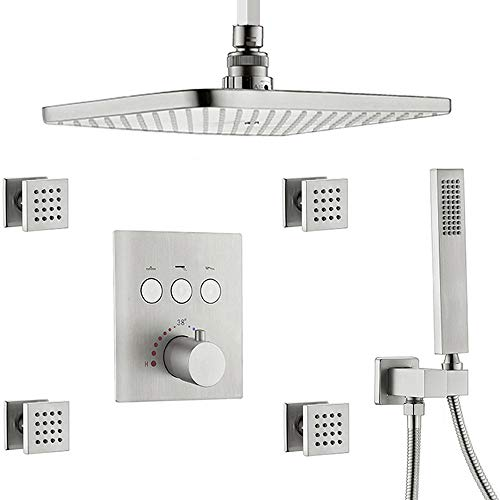 AYIVG Thermostatic Ceiling Shower Faucet System Rectangular 12 x 8 Inch With Body Jet Set, Shower...