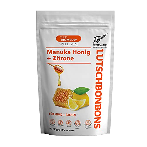 Purao Biomedi Caramelos de Miel de Manuka con Limón - para boca y garganta, 42 gotas (250 g) en bolsa resellable
