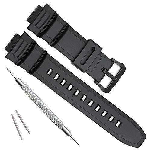 OliBoPo Ersatzarmband für Casio MCW-100H/W-S220/HDD-S100, wasserdicht, natürliches Harz, matt schwarz