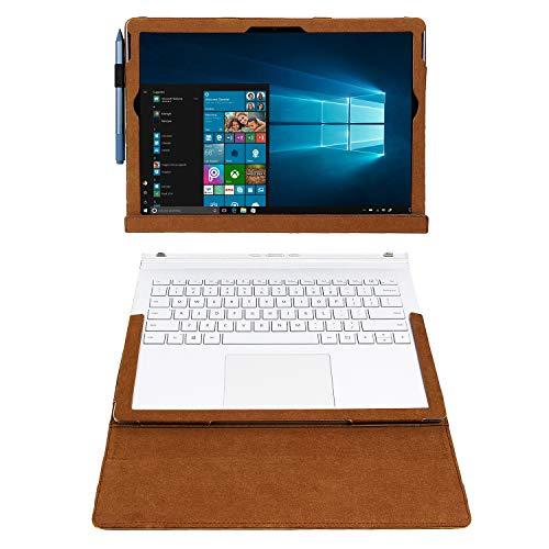 Calfinder Surface Book 3 Hülle, Surface Book 2 Case 15 Zoll Crazy-Horse-Leder, Magnetic Attraction Abnehmbare Zwei Verwendungsmöglichkeiten, handgefertigte Vintage-Laptop-Hülle, Braun