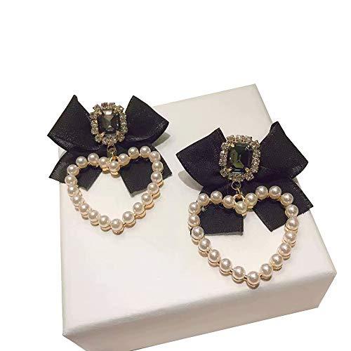 ZXAOYUAN Pendientes De Princesa En Forma De Corazón con Lazo De Diamantes Brillantes De Perlas para Mujer, Poste De Plata, Pendientes De Botón Brillantes En Forma De Corazón, para Mujer