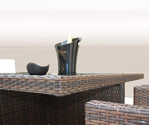 Ragnarök-Möbeldesign PolyRattan - DEUTSCHE Marke - EIGNENE Produktion - 8 Jahre GARANTIE auf UV-Beständigkeit Gartenmöbel Essgruppe Tisch + 4 Stühle & 4 Hocker 12 Polster Braun - 7