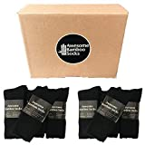 6 Pairs Awesome Bamboo Socks Mens Thick Black Heavy Duty Hiking Odour Resistant