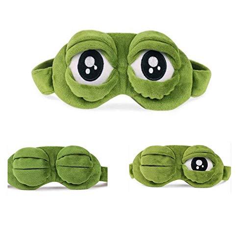 Apanphy Máscara del sueño, Pelusa Dormir Divertido ovedad Rana de Dibujos Animados Tapa del Ojo Visera máscara de Viaje del sueño Sleep Mask (Verde)