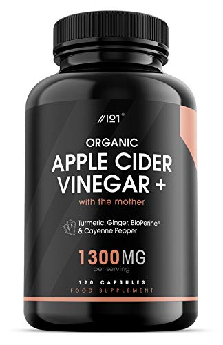 Organic Apple Cider Vinegar Capsules - 1300mg - with Turmeric, Ginger & Cayenne Pepper - Non-GMO, Organic, Gluten Free, Fair Trade, 120 Vegan Capsules