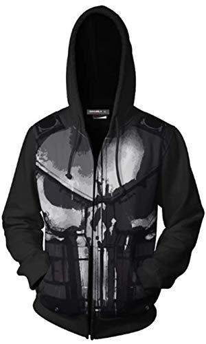 DFR-lumb Superior, Punisher Frank Castle Sci-Fi Series 3D Impreso al aire libre Casual Sudadera con capucha Chaqueta con cremallera, Moda de calle