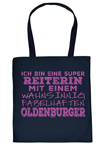 Oldenburger Tasche - Spruch/Motiv Pferd Stofftasche : super Reiterin - fabelhaften Oldenburger - Stalltasche Reitsport - Farbe : Navyblau