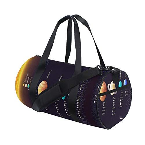 HARXISE Detailliertes Sonnensystem mit wissenschaftlichen Informationen Jupiter Saturn Universe Telescope,Reisegepäcktasche Sport Leichte Segeltuch Fitness Gepäcktrommel Handtasche Abnehmbar