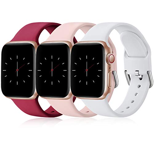 Wepro 3 Pack Correas Compatible con Apple Watch Correa 38mm 42mm 40mm 44mm, Correa de Silicona Suave de Repuesto Compatible con iWatch Series 6, 5 4 3 2 1, SE, 38mm/40mm-S/M, Rojo/Rosa/Blanco