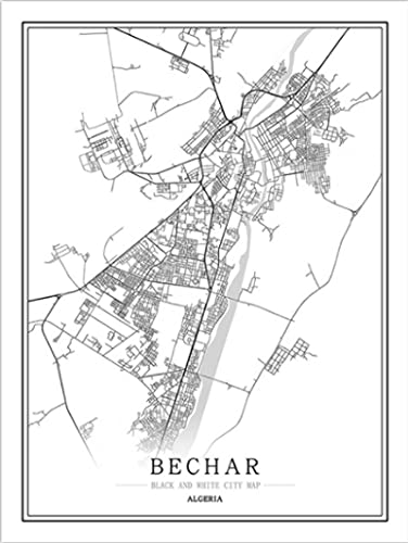 ZhuSen Algerien Stadtplan Poster Algier abstrakte Leinwand Malerei Schwarzweiß Wandkunst Druck Bild Moderne Wohnkultur 40 * 60 Rahmenlos