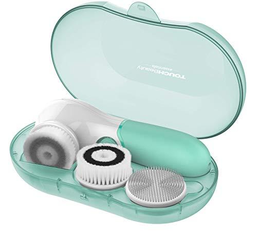 TOUCHBeauty Cepillo limpiador facial, juego de cepillo giratorio impermeable facial con 3 cabezas, cepillo de exfoliación facial para una limpieza suave y exfoliación profunda AG-14838