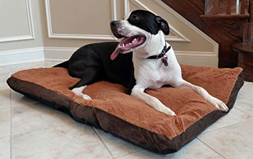 Pet Bed. Soft Mat, Lounge Pad. Best Dog, Puppy Fancy Indoor Bedding Furniture for Comfortable Rest & Sleep. Rectangle Mattress with Cozy Plush, Removable, Washable Cover On Zipper Closure. (Large)