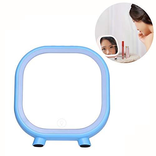 XIONGDA Luz de Relleno del Espejo del Maquillaje del LED con el Altavoz de Bluetooth Carga por USB portátil Claridad de Alta definición Cosmetic Light Up Mirror para el Viaje casero,Blue