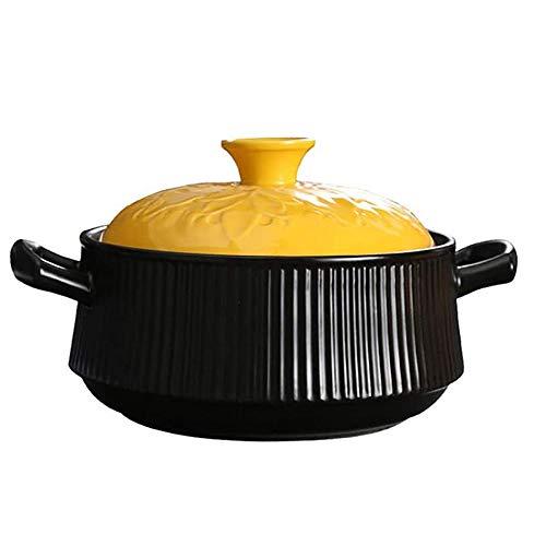 YFGQBCP Cacerola Alta 4.2Quart cerámica cazuela, Ronda cazuela, Resistente al Calor Crisol de guisado, no-Stick de Tierra Pot, Rayas de Utensilios de Cocina con Tapa Amarilla, Lenta cocción Negro