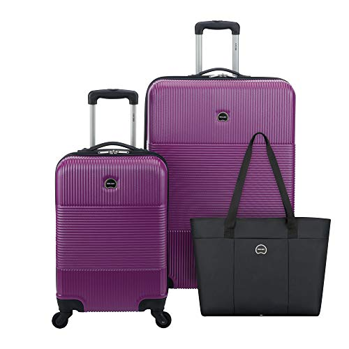 DELSEY Paris Groove DLX 3-Piece Hardside Set (Carry-on, Checked Suitcase and Weekender Bag), Fuschia