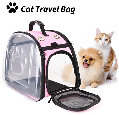 Legendog Katze Reisetasche,Katzentasche/Falten transporttasche Katze/transparente Handtasche tragetaschen für Katzen Haustier Kaninchen Komfort Reisen (Rosa)