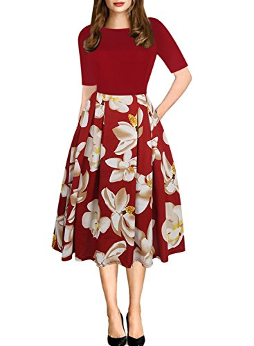 oxiuly Women's Casual Stretchy Pockets Floral A-Line Party...