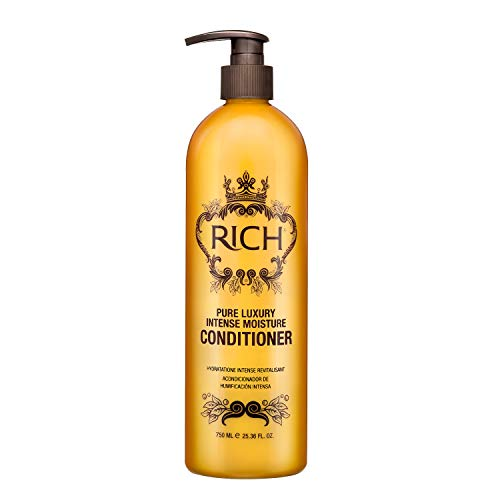 RICH Pure Luxury Intense Moisture Conditioner with Hydrolyzed Keratin for All Hair Types - Moisturizing & Smoothing, Anti-frizz, Prevents Split Ends (25.36 oz)