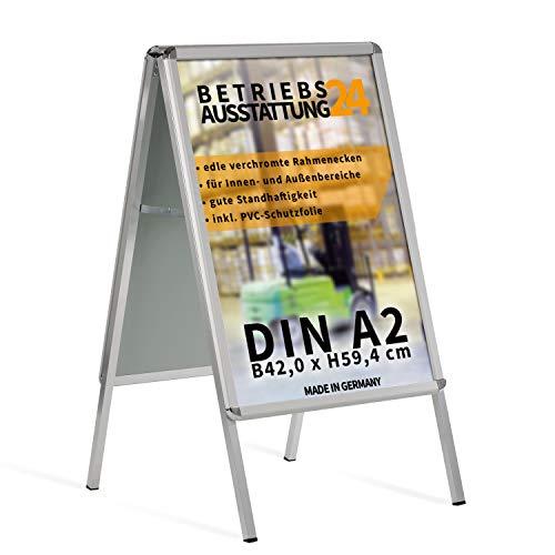 Betriebsausstattung24 Kundenstopper Gehwegaufsteller Werbetafel | für zwei Plakate | Aluminium Plakatständer | inkl. PVC Schutzfolie (A2 B42,0 x H59,4 cm)
