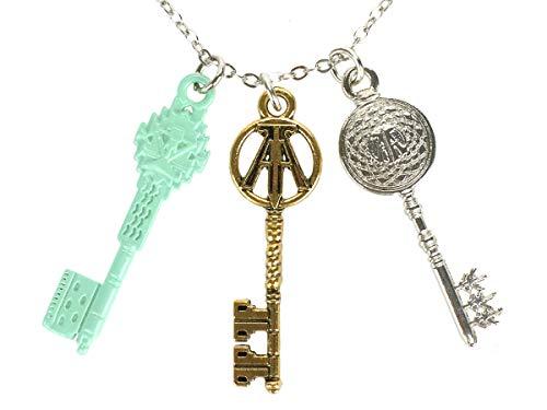 CoolChange Ready Player One Halskette mit DREI Schlüsseln | Kette mit Jadeschlüssel, Kupferschlüssel und Kristallschlüssel