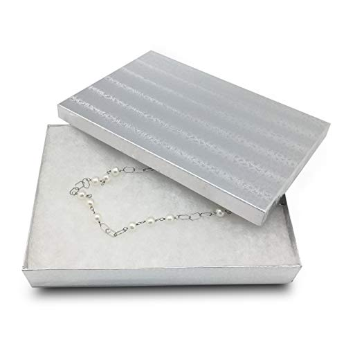 TheDisplayGuys 25-Pack #53 Silver Foil Cotton Filled Paper Jewelry Boxes (5 7/16 x 3 15/16 x 1) for Gift Display Shipping & Retail