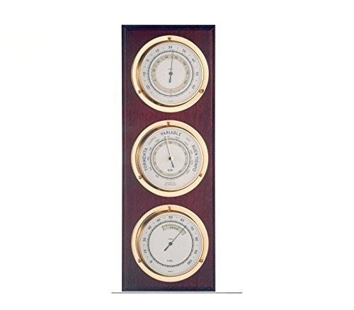 RELOJESDECO Estación meteorológica náutica, Barómetro y estación meteorológica Madera náutica 40cm, Estación meteorológica Interior Exterior. 3 Relojes, barómetro, higrómetro, termómetro.