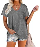 Summer Tshirts for Women Sexy Scoop-Neck Casual Longline Tops Grey L
