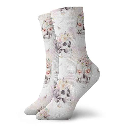 Colin-Design Wasserfarben-Muster mit menschlichem Totenkopf & Rosen, personalisierte Socken, Sportsocken, 30 cm, Crew-Socken für Männer & Frauen