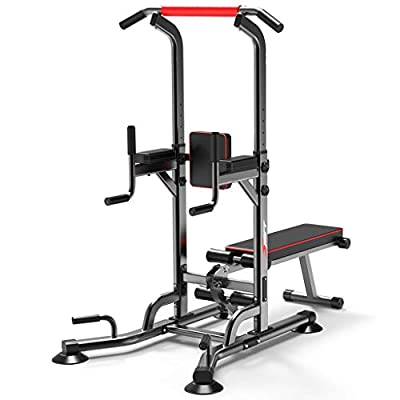 vin Power Tower Pull Up Bar Dip Station Adjustable Height Strength Training Workout Equipment with Dumbbell Bench for Home Gym