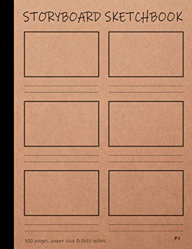 Storyboard Sketchbook: Blank storyboard template notebooks for Storytelling, Comic Strip, Cartoon Drawing : 100 pages , 8.5 x 11 inches, with page number
