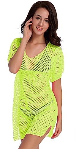 KCLONAZS Playa de mujer cuero hueco malla bikini blusa manga corta vestido de playa transparente