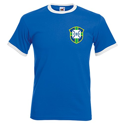 Homme CBD Pele 1970Coupe du monde de football brésil Away T-shirt, Bleu roi/blanc, Medium