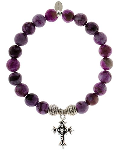 EvaDane Natural Sugilite Gemstone Rope Bead Cross Charm Stretch Bracelet - Size 7 Inch (1_Sug_S_R_CRO_7)